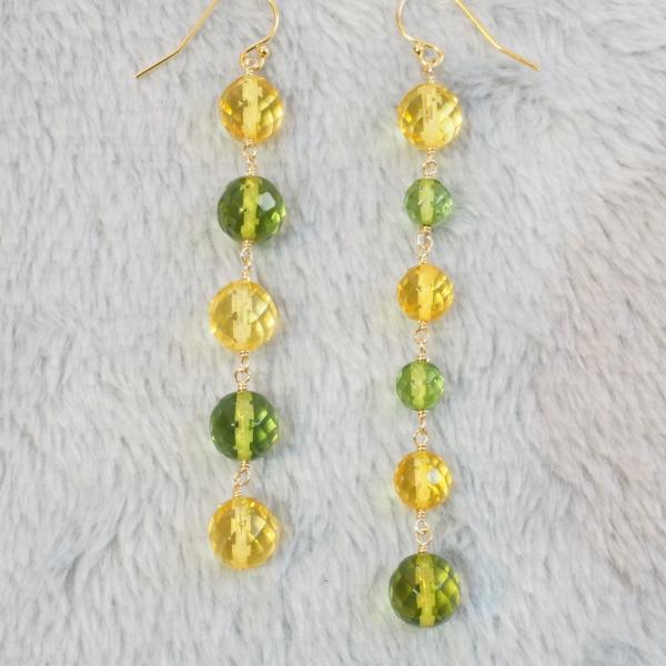Mimosa-Yellow-Green-Amber-Asymmetric-Long-Earrings