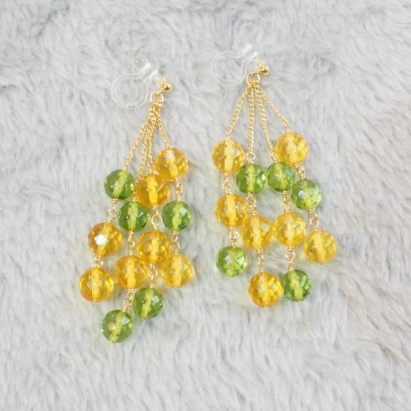 Mimosa-Yellow-Green-Amber-Chain-drop-Earrings