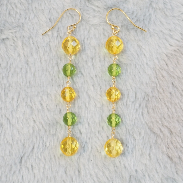 Mimosa-Yellow-Green-Amber-Symmetric-Long-Earrings