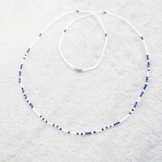 Semi-order-made]-Morse-Code-Message-Necklace-Lapis-Lazuli-White-Coral-60cm_o2