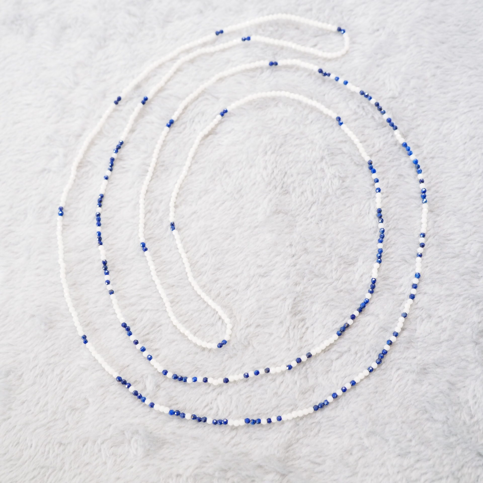 Semi-order-made-Morse-Code-Message-Necklace-Lapis-Lazuli-White-Coral-120cm
